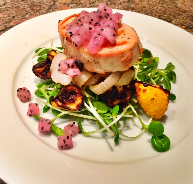 Grilled Hawaiian Ono, Pea Tendril Salad, Dragonfruit Salsa