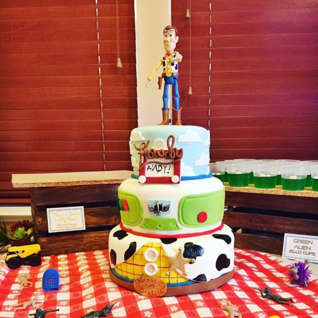 Red velvet, chocolate, salted caramel buttercream, Disney, Woody, Buzz, fondant, vanilla, cream cheese