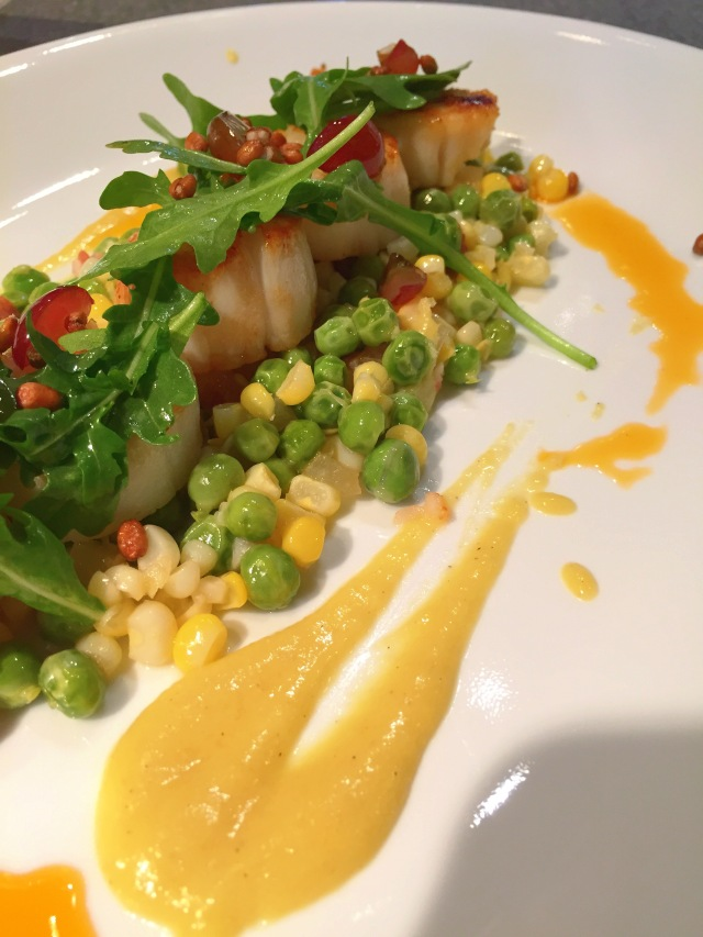 spring peas, corn, butter,